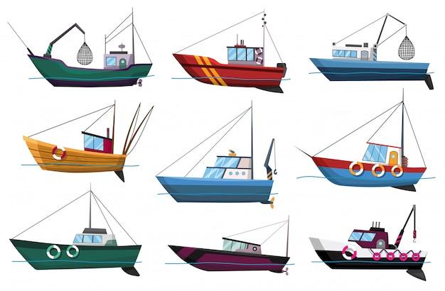 Raccolta della vista laterale dei pescherecci isolata su fondo bianco. pescherecci da traino commerciali di pesca per l'illustrazione industriale di produzione dei frutti di mare. pesca marittima, industria navale navale, pescherecci