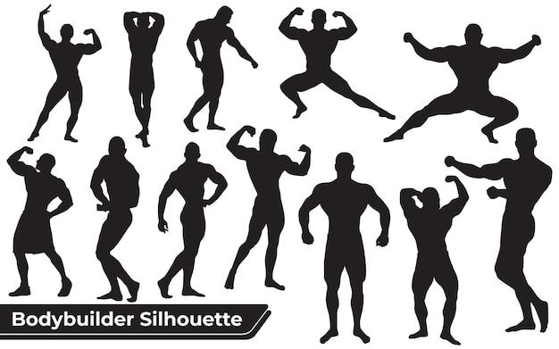 Collezione di silhouette fitness e bodybuilder