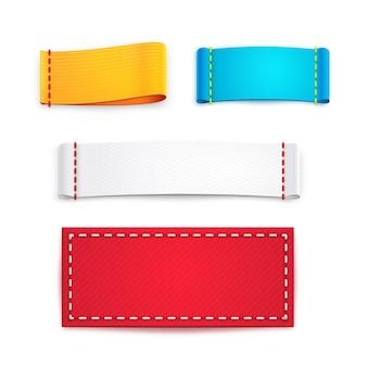 Raccolta di cinque etichette o distintivi vuoti colorati