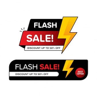 Raccolta di banner di vendita flash per lo sconto.