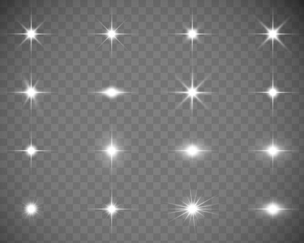 Raccolta di lampi, luci e scintille Vettore Premium