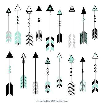 Raccolta delle frecce piatte con dettagli di colore