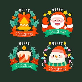 Collezione di badge natalizi piatti