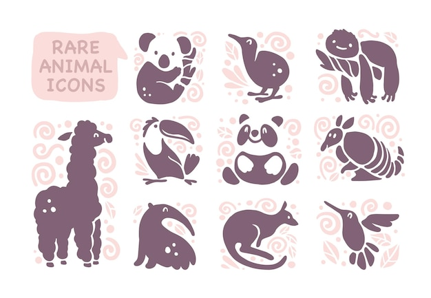 Raccolta di icone animali piatte carino isolato su sfondo bianco. animali rari e simboli di uccelli. emblemi di animali tropicali esotici disegnati a mano. perfetto per il design del logo, infografica, stampe, ecc.