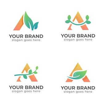 Collezione design piatto lettera a modelli di logo