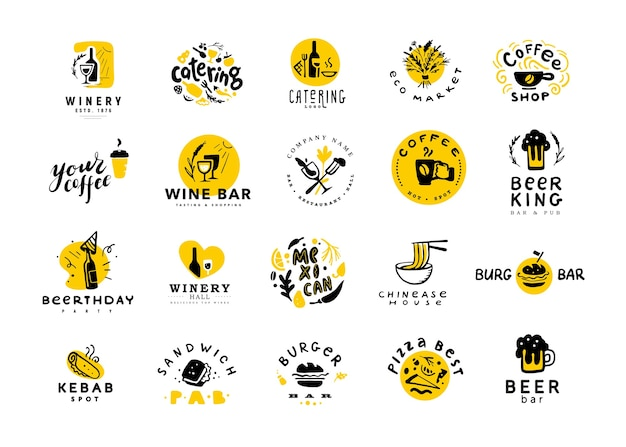 Raccolta di cibo piatto e set di logo di alcol isolati su sfondo bianco. elementi di cibo disegnati a mano, icone del piatto.