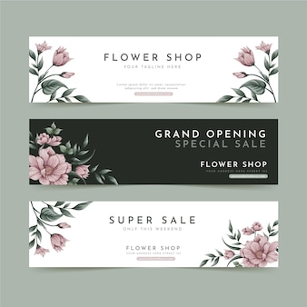 Raccolta di banner floreali per negozio di fiori Vettore Premium