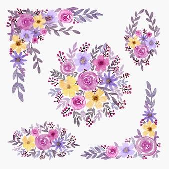 Raccolta di illustrazione dell'acquerello di disposizione della decorazione floreale per l'invito di nozze