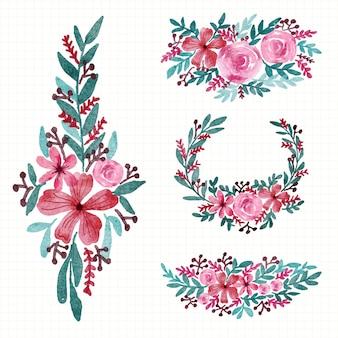 Raccolta di motivi floreali per la disposizione della decorazione e l'illustrazione dell'acquerello dell'invito di nozze