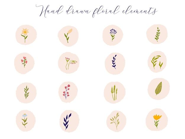 Collezione di copertine floreali evidenziate icon fiori di campo colorati e rami