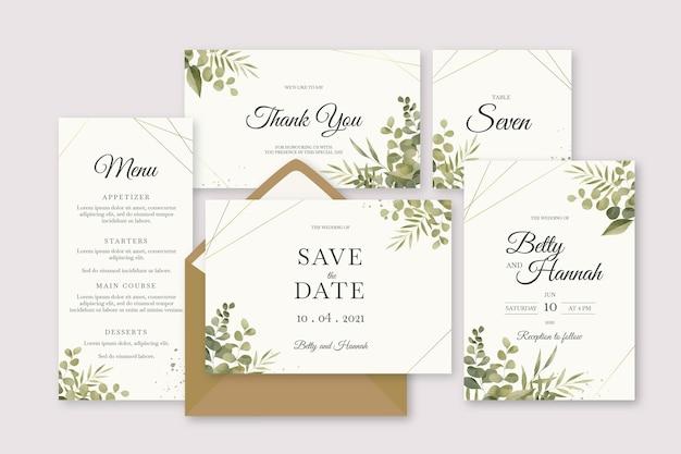 Collezione di articoli di cancelleria per matrimoni floreali Vettore Premium