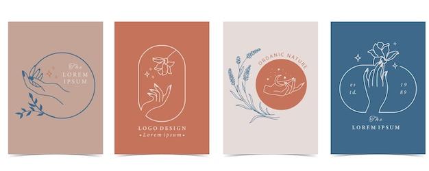 Raccolta di sfondo fiore impostato con mano, fiore, rosa, forma.illustrazione modificabile per sito web, invito, cartolina e adesivo