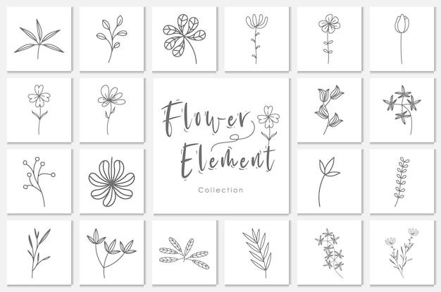 Illustrazione del lineart dell'elemento del fiore della raccolta