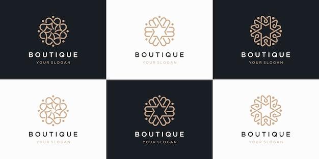 Collezione di fiori logo s con stile arte linea