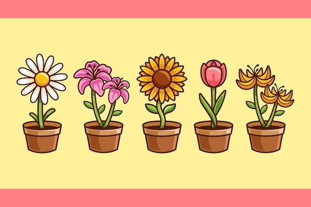 Collezione di fiori in vaso cartoon