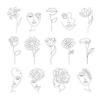 Raccolta di fiori e donne in uno stile di disegno a tratteggio su sfondo bianco.