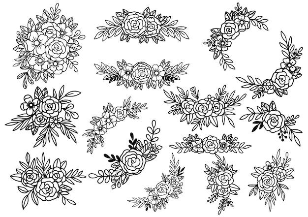 Collezione foresta felce eucalipto arte fogliame foglie naturali erbe in stile linea. illustrazione elegante di bellezza decorativa per fiore disegnato a mano di design