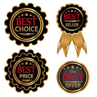Collezione quattro badge scelta migliore, migliore offerta, bestseller, miglior prezzo.