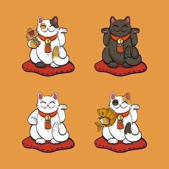 Raccolta di quattro gatti fortunati (maneki neko) disegnati in diverse pose Vettore Premium