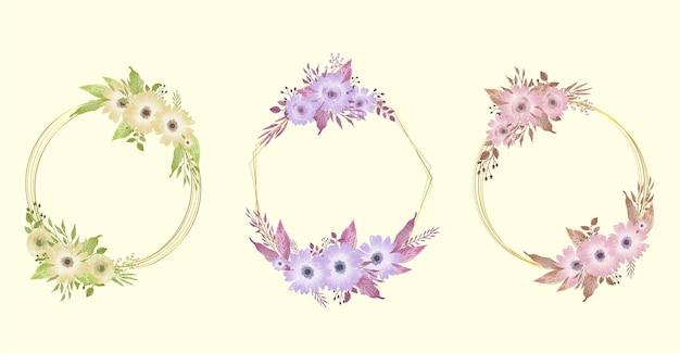 Collezione di fiori con cornice e bouquet floreale per l'illustrazione dell'acquerello dell'invito della disposizione della decorazione