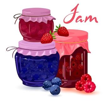 Raccolta di gelatina di fragole, mirtilli e lamponi fresca fatta in casa in scatola in barattoli