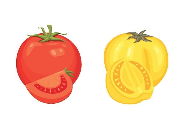 Raccolta di pomodori rossi freschi e illustrazioni di minestra. metà, fetta, pomodorini.