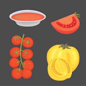Raccolta di pomodori rossi freschi e illustrazioni di minestra