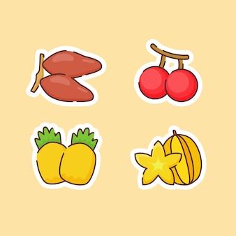 Raccolta di frutti isolati su beige