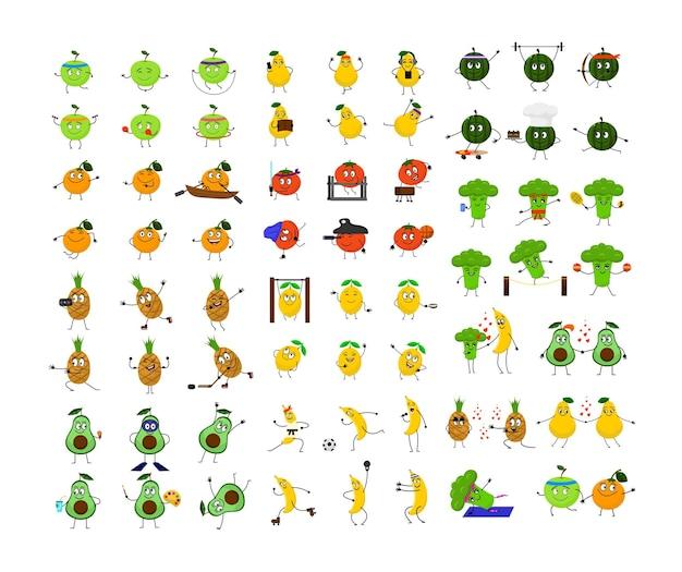 Raccolta di frutta e verdura divertenti dei cartoni animati