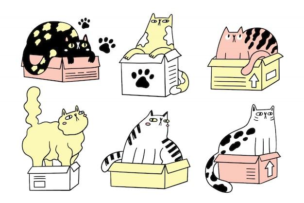 Collezione di gatti divertenti in scatole. il pacco di vari gatti del fumetto ha isolato l'illustrazione disegnata a mano