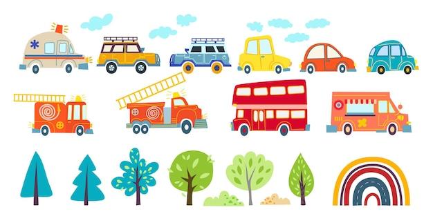 Collezione divertenti trasporti per bambini in stile scandinavo