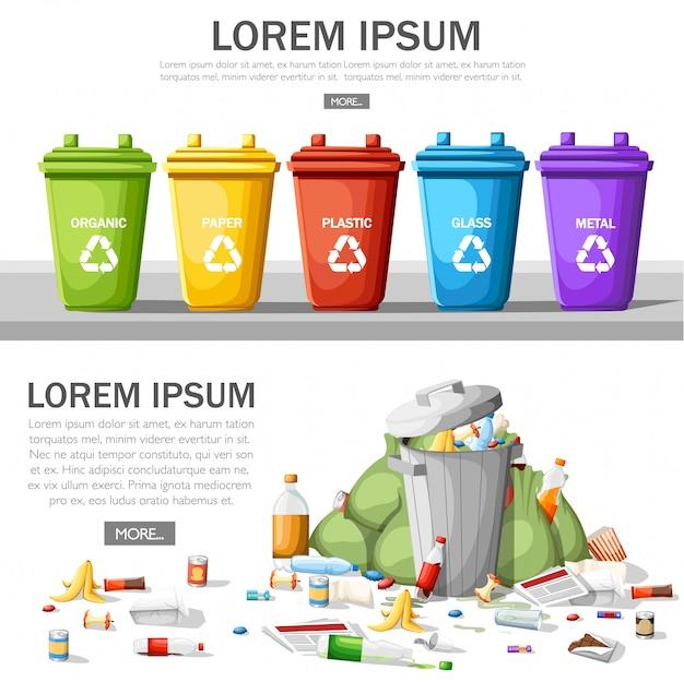 Raccolta di bidoni della spazzatura con immondizia ordinata. bidone della spazzatura in acciaio pieno di spazzatura. ecologia e concetto di riciclo. concetto di riciclaggio e utilizzo dei rifiuti. illustrazione su sfondo bianco