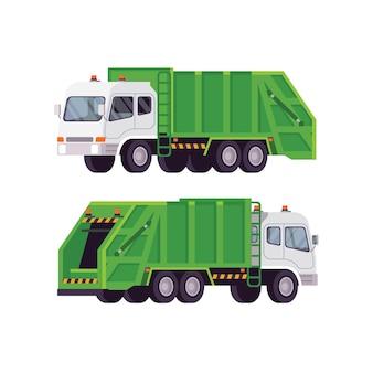 Raccolta di camion della spazzatura isolato su bianco