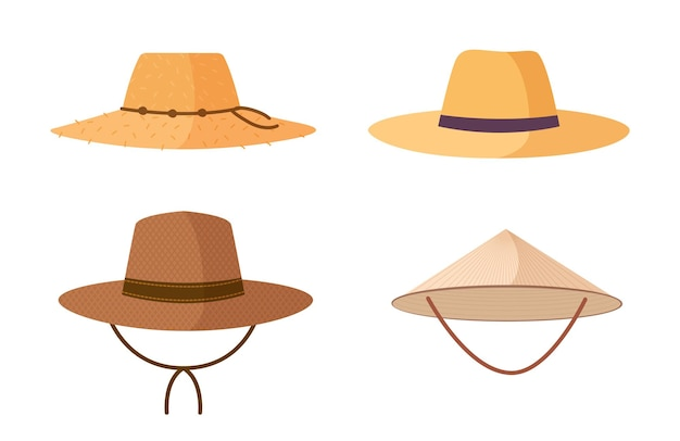 Collezione di cappelli di paglia del giardiniere, dell'agricoltore o del lavoratore agricolo isolati su fondo bianco. copricapi, accessori per la testa di diversi tipi e stili. illustrazione di vettore del fumetto colorato.