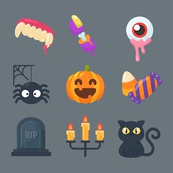 Collezione di fantasmi e oggetti per halloween.