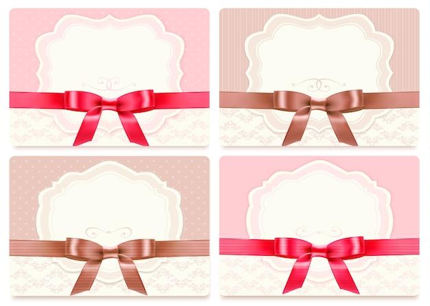 Collezione di carte regalo con nastri. sfondo