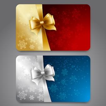 Collezione di carte regalo con fiocchi di neve e nastri.