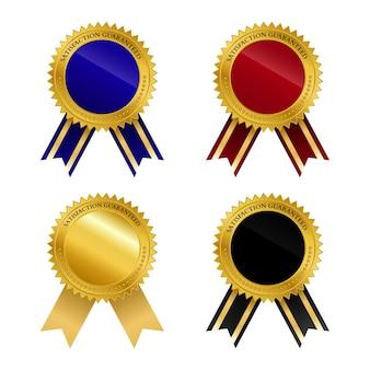 Collezione di badge d'oro con nastro