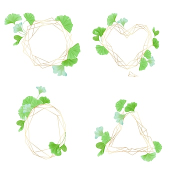 Collezione di cornici geometriche dorate con foglie di ginkgo verde, stile art deco per invito a nozze, modelli di lusso, motivi decorativi, elementi astratti moderni, illustrazione vettoriale