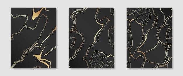 Collezione di kintsugi d'oro su modelli di design per copertine di sfondo scuro