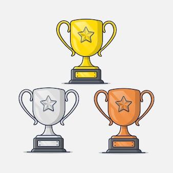 Raccolta di illustrazioni di icone trofei in oro, argento e bronzo