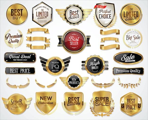 Collezione di distintivi dorati etichette scudo di allori e piastre di metallo
