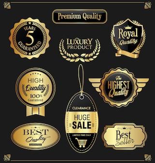 Collezione di badge dorati ed etichette dal design retrò