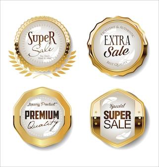Collezione di badge d'oro ed etichette dal design retrò