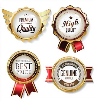 Collezione di badge dorati ed etichette design vintage retrò