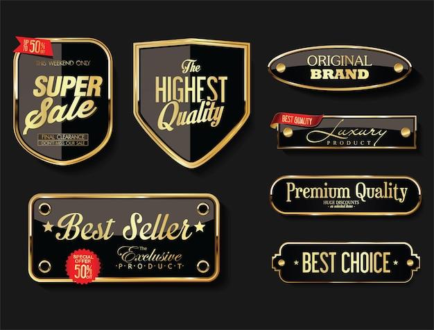 Raccolta di etichette e cartellini distintivi dorati