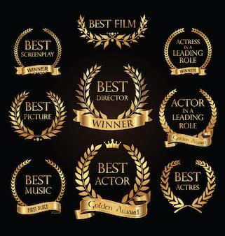 Collezione di etichette dorate con design modello di lusso premio film corona di alloro