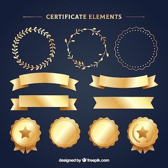 Raccolta di elementi di certificato di lusso d'oro