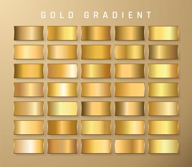 Raccolta di gradiente metallico dorato. piatti brillanti con effetto oro.