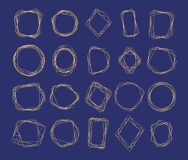 Collezione di cornici di lusso geometriche poligonali dorate. design geometrico poliedrico per carta di nozze, inviti, logo, copertina del libro, decorazione artistica e poster.